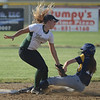 HALEY WARD | THE GOSHEN NEWS<br /> Wawasee senior Kylee Rostochak tags Fairfield freshman Lyndsey Bradley during the 3A Sectional Championship on Thursday at Fairfield High School. Fairfield defeated Wawasee 1-0.