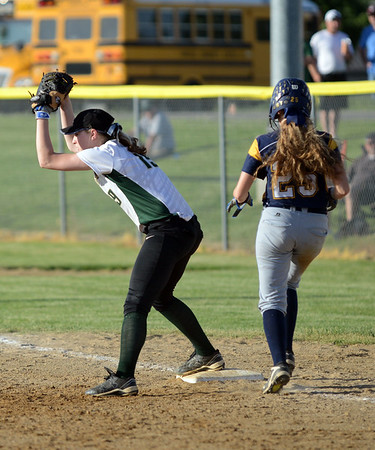 HALEY WARD | THE GOSHEN NEWS<br /> Wawasee junior Amber Lemberg tags first to get Fairfield sophomore Jalisa Schwartz out during the 3A Sectional Championship on Thursday at Fairfield High School. Fairfield defeated Wawasee 1-0.