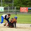 Leominster shortstop Brianna Barry slaps the tag on Marlboro's Erin Coughlin at second while second baseman Gianna DeGuidice looks on. SENTINEL & ENTERPRISE / SCOTT LAPRADE