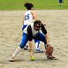 Leominster first baseman Hannah Burns forces out Marlboro's Jen Boxell. SENTINEL & ENTERPRISE / SCOTT LAPRADE