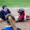 Leominster's Arianna Bilotta tags out Fitchburg's Liandra Boddie during the game on Wednesday afternoon. SENTINEL & ENTERPRISE / Ashley Green