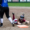 Fitchburg's Siobhan King is checked back to first base during the game against Leominster on Wednesday afternoon. SENTINEL & ENTERPRISE / Ashley Green