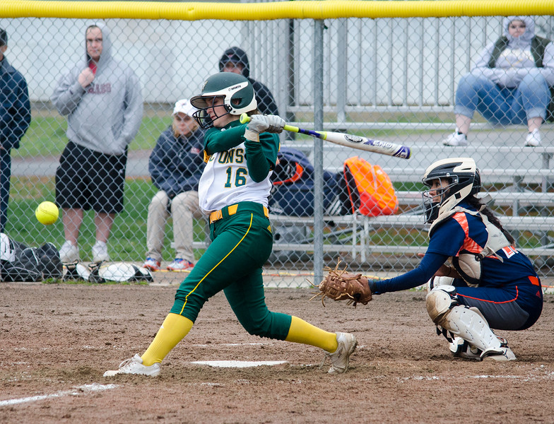 Fitchburg State's Michelle LeBlanc connects with a pitch during the game against Salem State on Thursday afternoon. SENTINEL & ENTERPRISE / Ashley Green