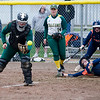 Fitchburg State's Emily Comtois receives a late throw as a Salem State baserunner scores a run during the game on Thursday afternoon. SENTINEL & ENTERPRISE / Ashley Green