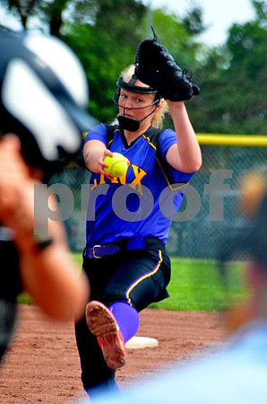 photo by Britt Kudla<br /> Webster City's Mikaleh McCoy pitches against North Union on Friday at Roger's Park