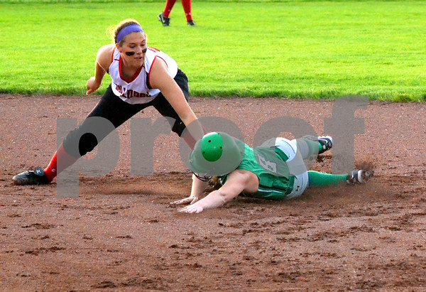 - Messenger photo by Britt Kudla<br /> St. Edmond's Katy Bocken steals second base againist Hampton-Dumont on Tuesday