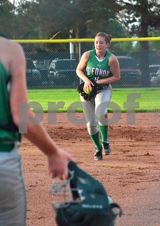- Messenger photo by Britt Kudla<br /> St. Edmond's Katy Bocken catches a in-field pop fly during Tuesday game against Hampton-Dumont