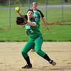 STEPHEN BROOKS | THE GOSHEN NEWS<br /> Concord freshman Skylar Decker looks to make a throw to first base during Friday's game against Goshen at Shanklin Park. Goshen won 4-3.