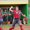 GREG KEIM | THE GOSHEN NEWS<br /> Sophomore catcher AnaMaria Ramirez of the Goshen RedHawks throws to first to retire a Northridge Raider in an NLC high school girls softball game Thursday in Middlebury.