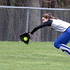 Leominster's left fielder (#2) Devan Mobley makes a great catch after running down the ball in their game against Westboro on Tuesday morning. SENTINEL & ENTERPRISE/JOHN LOVE
