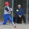 Leominster's playerArianna Bilotta makes contact with the ball during their game against Westboro on Tuesday morning. SENTINEL & ENTERPRISE/JOHN LOVE
