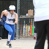 Leominster's player Kelsey Joyce takes off to first after making contact with the ball during their game against Westboro on Tuesday morning. SENTINEL & ENTERPRISE/JOHN LOVE