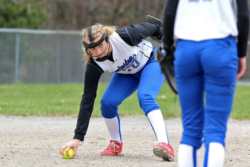 Leominster's third baseman Anina Lacoboni keeps her eye on first as she picks up a ground ball during action in their game against Westboro on Tuesday morning. SENTINEL & ENTERPRISE/JOHN LOVE