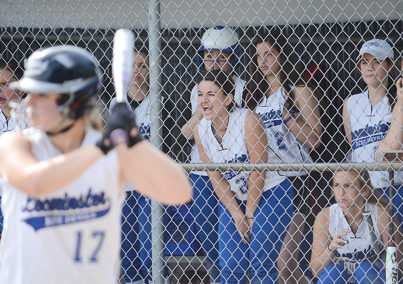 The Leominster dugout cheers on teammate #17 Hannah Burns on Thursday afternoon in the first round of the Central Mass. Division 1 playoffs. SENTINEL & ENTERPRISE/ Ashley Green