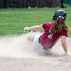 Fitchburg High's Morgan Perla slides safely into second during the 15-10 loss to Lunenburg on Friday morning. SENTINEL & ENTEPRISE / Ashley Green