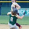 Nashoba's #8 Alicia Lane is tagged out while sliding into second during the Central Mass. D1 softball semi-final game against Shepherd Hill at Worcester State on Tuesday evening. SENTINEL & ENTERPRISE/ Ashley Green