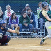 Nashoba's #15 Erin Cressman takes a cut during the Central Mass. D1 softball semi-final game against Shepherd Hill at Worcester State on Tuesday evening. SENTINEL & ENTERPRISE/ Ashley Green