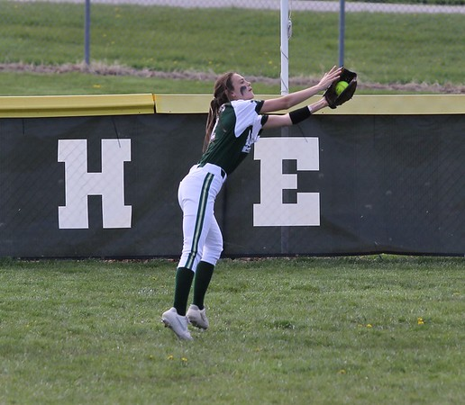 Wawasee freshman Jaclynn Worrell reaches out to make a catch in the first inning of Friday's game against NorthWood in Syracuse.