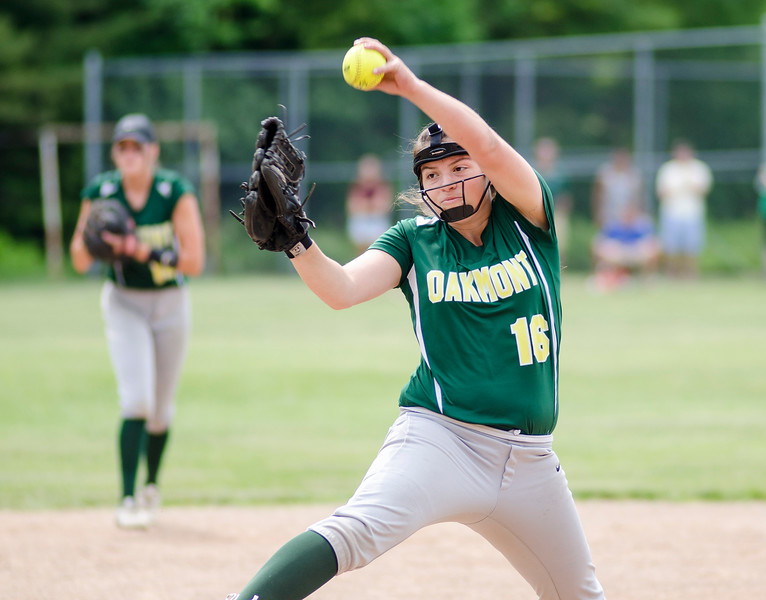 Oakmont's Paige Toothaker delivers a pitch during the game against Millbury on Saturday afternoon. SENTINEL & ENTERPRISE / Ashley Green