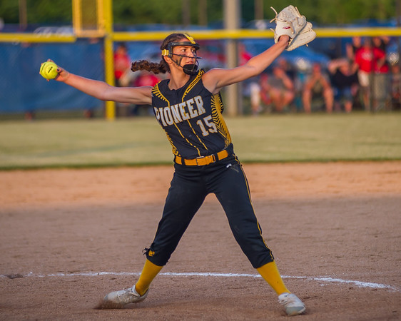 Pioneer Panthers freshman Hailey Gotshall makes her last pitch of the 2018 1A IHSAASemi-State Championship game in Frankfort Saturday evening as the Lady Panthers defeated the Frontier Falcons by a score of 6-3. Fran Ruchalski | Pharos-Tribune