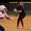 Zoe Bacon (7) for Lake Travis fields a grounder and throws to first for an out in a game at the 2015 UIL 6A Softball Regional Quarterfinal Lake Travis 14-6A vs Atascocita 16-6A on Thursday, May 14 in Weimar, TX
