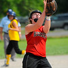 SENTINEL & ENTERPRISE / BRETT CRAWFORD<br /> Fitchburg Rockers' Kayleigh McLaughlin catches a short, infield pop-up during Saturday's game against the Sterling Stingers at Coolidge Park in Fitchburg.