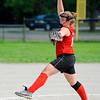 SENTINEL & ENTERPRISE / BRETT CRAWFORD<br /> Fitchburg Rockers' Kayleigh McLaughlin delivers a pitch during Saturday's game against the Sterling Stingers at Coolidge Park in Fitchburg.