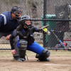 Fitchburg High School softball played Leominster High <br /> School softball on Monday afternoon at FHS. LHS's Sarah Khallady behind the plate during action in Monday's game. SENTINEL & ENTERPRISE/JOHN LOVE