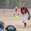 Fitchburg High School softball played Leominster High School softball on Monday afternoon at FHS. FHS's pitcher Janelle Forgues fires in a pitch during action in the game. SENTINEL & ENTERPRISE/JOHN LOVE