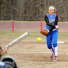 Fitchburg High School softball played Leominster High School softball on Monday afternoon at FHS. LHS's pitcher fires in a pitch during action in Monday's game. SENTINEL & ENTERPRISE/JOHN LOVE