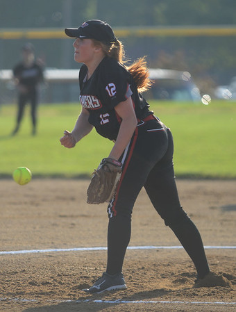 HALEY WARD | THE GOSHEN NEWS<br /> NorthWood junior Hannah Stickley pitches against Tippecanoe Valley on Monday at Fairfield High School.