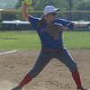 HALEY WARD | THE GOSHEN NEWS<br /> West Noble freshman Audrey Fulford throws to first base in the sectional game against Wawasee on Monday at Fairfield High School.