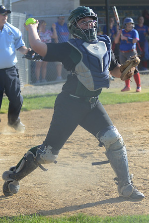HALEY WARD   THE GOSHEN NEWS<br /> Wawasee freshman Graceanna Kerlin throws to first base during the sectional game against West Noble on Monday at Fairfield High School. Wawasee won 4-1.