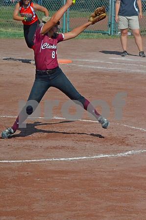 -Messenger photo by Britt Kudla<br /> Libby Bemis of Clarke pitches against New Hampton on Thursday
