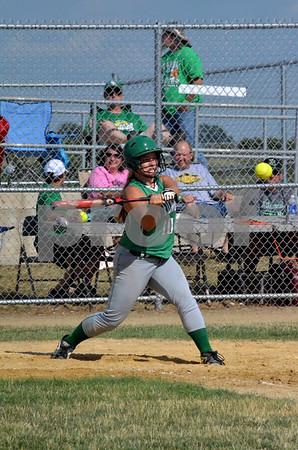 -Messenger photo Britt Kudla<br /> Brigid Hanley of St. Edmond connects for a hit on Wednesday against Jesup in the Consolation Final at Roger Park on Yankee diamond
