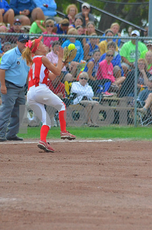 -Messenge photo by Britt kudla<br /> Brooke Kramer of Dallas center-Grimes catches a pop fly in the 7th inning against Carlisle on friday