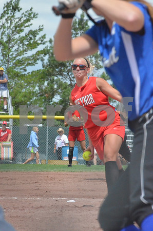 -Messenger photo by Britt Kudla<br /> Madison Keysor of Treynor pitches in Friday's lost against Durant at Roger park