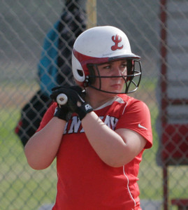 Lindsay Cardinal Pitcher Kassidy Kendig at bat against Strathmore on April 4, 2013.