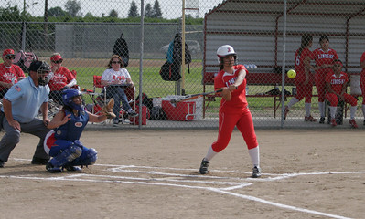 Lindsay Cardinal Jackie Rojas (2) at bat against Strathmore on April 4, 2013.