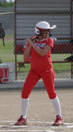 Alexis Gutierrez (4) OF - Lindsay High School against Strathmore on April 4, 2013.
