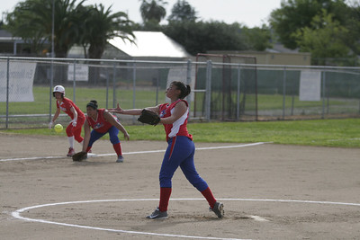 Strathmore Spartan pitcher Anita Martinez (3) against Lindsay on April 4, 2013.