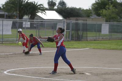 Strathmore Spartan pitcher Anita Martinez (3) against Lindsay on April 4, 2013.