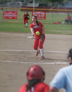 Kassidy Kendig (15) of Lindsay High School pitches against Strathmore on 4/4/13.