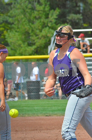 -Messenger photo by Britt Kudla<br /> Ashley Sicard of AGWSR pitches against Treynor during Thursday's 2A Semifinals at Roger Park