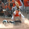 #3 for Honaker puts the tag on a sliding #15 from Eastside but too late as she was safe. Photo by Ned Jilton II