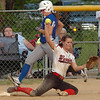 #2 for Wise Central holds up the ball to show she made the catch at first as #6 for Gate City is out. Photo by Ned Jilton II