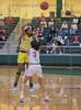 #11 DeSoto Center Tionna Herron passes the. ball over #3 SGP guard Kiara Jackson. <br /> South Grand Prairie High girls basketball takes on DeSoto High girls basketball team in the Texas State 6A semi-finals.
