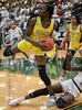 #14 DeSoto forward Amina Muhammad tries to stay inbounds after securing a rebound.<br /> South Grand Prairie High girls basketball takes on DeSoto High girls basketball team in the Texas State 6A semi-finals.