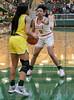 #0 Vasana Kearney on defense. <br /> South Grand Prairie High girls basketball takes on DeSoto High girls basketball team in the Texas State 6A semi-finals.