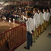 Matt Hamilton/The Daily Citizen<br /> Members of the Southeast Whitfield High School boys varsity soccer team stand in front of their classmates as they are introduced during a pep rally at the school on Friday.